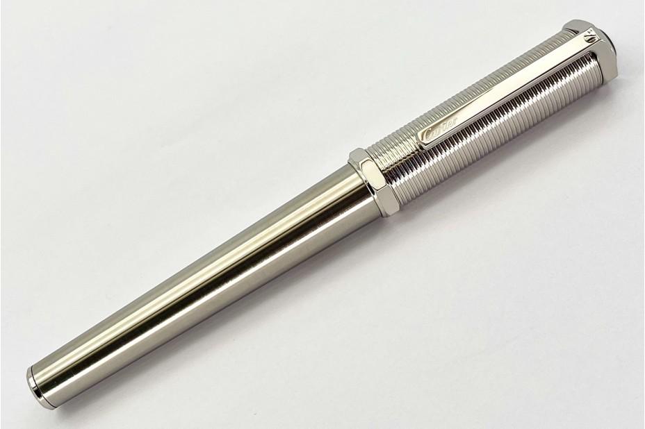Cartier OP000153 Santos-Dumont Screw Thread Metal Body Palladium Roller Ball Pen