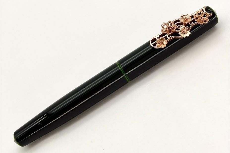 Nakaya Piccolo Long Writer Midori-Tamenuri Fountain Pen with Pink Gold Cherry Blossoms Stopper