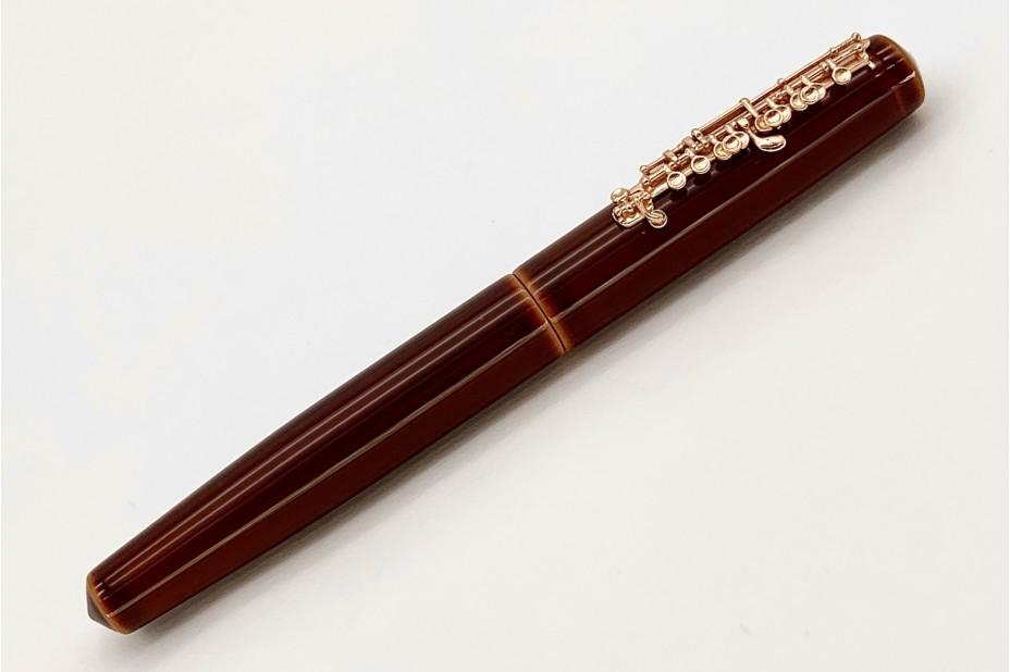 Nakaya Piccolo Long Writer Toki-Tamenuri Fountain Pen with Pinkgold Piccolo Stopper