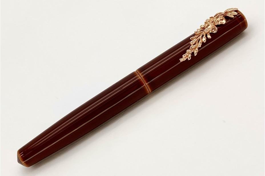 Nakaya Piccolo Long Writer Toki-Tamenuri Fountain Pen with Pinkgold Wisteria Stopper