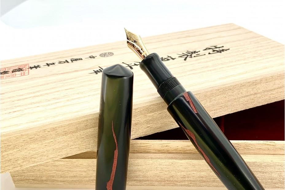 Nakaya Piccolo Long Negoro Style Nuno Kise Hon Kataji Black Red Fountain Pen