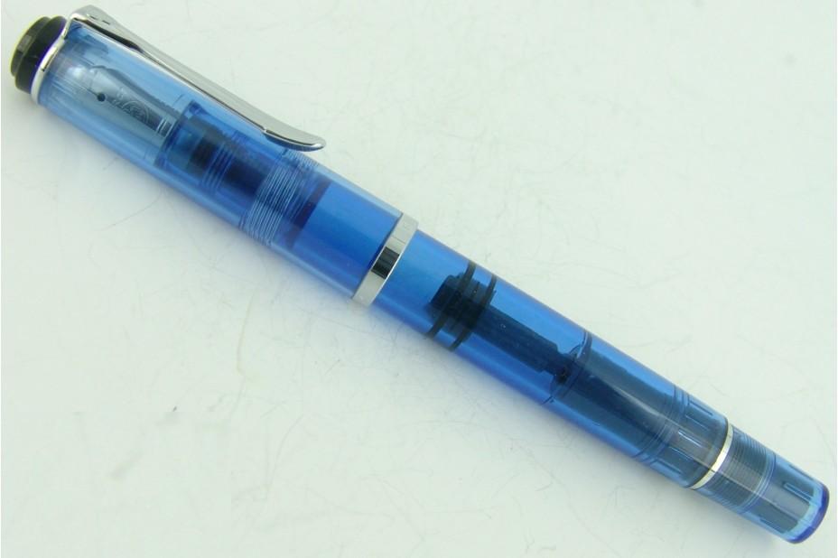 Pelikan Classic M205 Demonstrator Transparent Blue Fountain Pen (Black Ring Top)