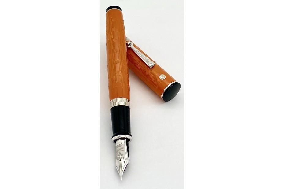 Wahl Eversharp Decoband FP Gatsby Orange Chased Ebonite Fountain Pen with Rhodium Trim
